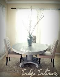 vintage gray and white washed round pedestal dining kitchen