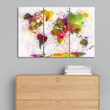 Wall Art World Map by Triptych Abstract World Map Art Print Canvas Painting Modern Wall