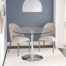 Glass Dining Table Chairs Narrow Wall Tables Wayfair