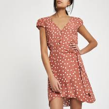 sleeve wrap dress brown polka dot cap sleeve wrap dress shift dresses dresses