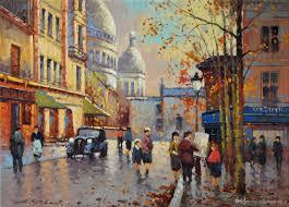 2017 paris autumn streetscape by yuri kuzmin russian b 1949 pure
