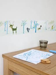 frise murale chambre bébé frise adhésive décoration chambre garçon la forêt bleue ab