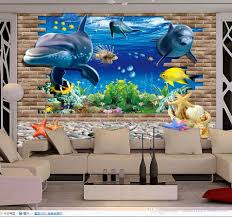 luxury european modern 3d seaside world dolphin tv wall mural 3d see larger image