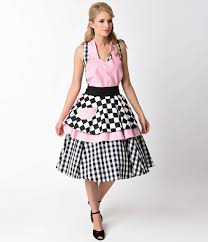 cute vintage retro aprons and patterns old fashioned aprons patterns 1950s style black white pink rock around the kitchen apron 41 00