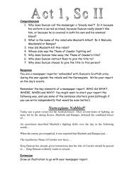 themes in othello act 1 scene 3 macbeth act 1 scene 2 newspaper task worksheet secondary