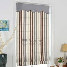 Printed Fabric Roman Shades - elegant striped pattern flat shaped custom fabric roman shades