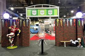 football themed event entrance football props shag carpet prop