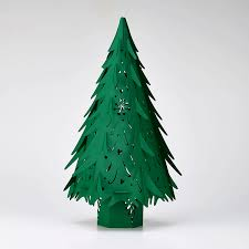 Cutting Christmas Tree - small forest green christmas tree made in ur sussex laser cutting