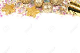 Gold New Years Decorations by New Years Eve Border Of Confetti And Golden Decorations On A