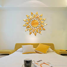 art sun mirror decal sticker plastic sunflower mural home short description material plastic quantity per set color silver and gold feature sun flowers mirror face wall sticker pack one