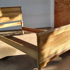 best antique twin oak bed frame with metal casters for sale in