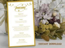 Diy Wedding Menu Cards Printable Wedding Menu Template Diy Menu Card Template Script