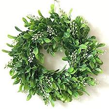 zehui lifelike artificial green leaf wreath flowers