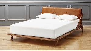 leather headboard drommen acacia bed with leather headboard cb2