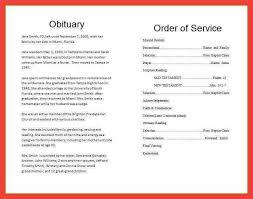 Sample Memorial Programs Sample Obituary Memo Example