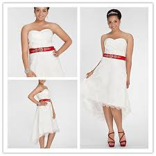 off the shoulder short front long back lace white red ribbon 2013