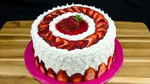 Decoration Of Cake At Home Strawberry Cake Recipe How To Make Strawberry Cake By Cookies