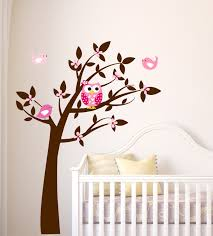 tree owl decal baby nursery wall decal butterfly tree owls wall owl wall decal tree vinyl wall decals childrens by lucylews