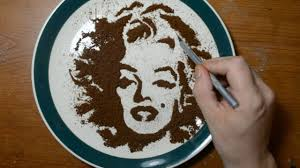 drawing with coffee grounds marilyn monroe food art youtube