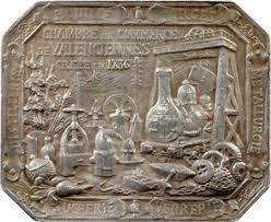 vso valenciennes chambre de commerce plaque en argent 1897
