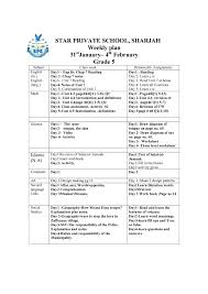 Responsibility Worksheet Weekly Plan 31st January To 4th February Grade 4 8 Star Private