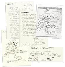 lot detail chuck jones u0027 u0027bugs bunny u0027 u0027 sketch u0026 autograph letter