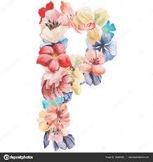 imagenes en ingles con la letra p letra p de flores acuarela mano aislado en un fondo blanco diseño
