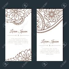 Mehndi Cards Cute Cards With Floral And Paisley Mehndi Ornament Hand Drawn