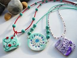 handmade necklace patterns images A selection of handmade polymer clay pendant on beaded necklaces jpg