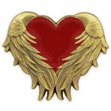 Hearts With Wings - with wings pin awareness pins pinmart pinmart