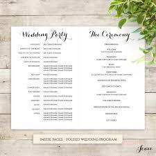 order of wedding program printable wedding program folded program template order of