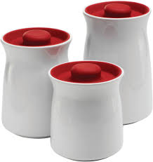 anchor hocking 3 piece ceramic studio canister set with cherry red