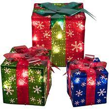 3pc set lighted large gift boxes presents outdoor yard