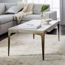 streamline coffee table west elm brass concrete coffee table west elm