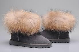 womens ugg boots fox fur style ugg 5854 fox fur boots mini boots gray