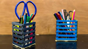 diy popsicle stick pencil holder pen stand youtube