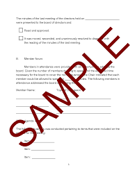meeting minutes form template hoa member services