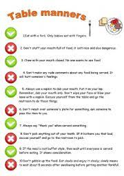 table manners english worksheets table manners rules
