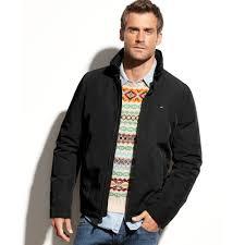tommy hilfiger stand collar jacket in black for men lyst