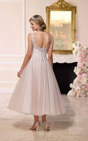 t length wedding dresses tea length wedding dress with tulle skirt stella york