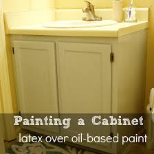 painting a bathroom cabinet and how to paint over oil based paint