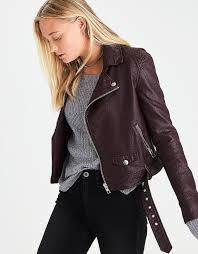 moto jacket aeo faux leather moto jacket raisin red american eagle outfitters