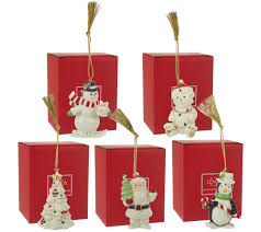 lenox set of 5 porcelain ornaments with 24k gold accents u0026 boxes