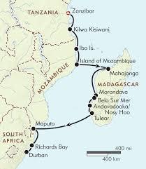 Mozambique Map Zanzibar To Durban Itinerary U0026 Map Wilderness Travel