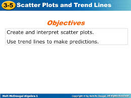 holt mcdougal algebra scatter plots and trend lines create and