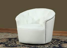 Swivel Bucket Chairs White Leather Split Tufted Back Swivel Tub Chair