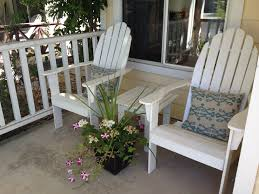 Cute Patio Furniture by Unique Pair Of White Wooden Adirondack Chairs And Cute Blue