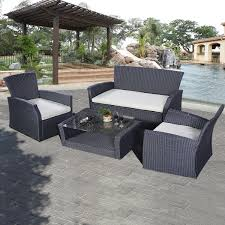 4 pcs patio wicker rattan seat cushioned set outdoor furniture