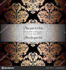 Wallpaper Invitation Card Baroque Background With Antique Luxury Silver Black And Gold
