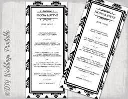 wedding menu template black u0026 white diy damask wedding menu